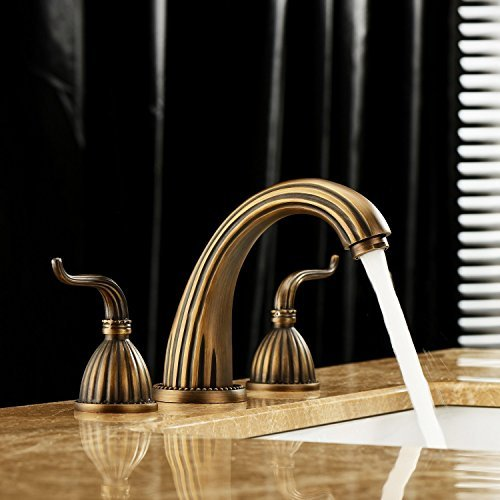Classic Vanity Antique - Lightinthebox Luxury Classic Antique Inspired Solid Brass Deck Mount Two Handles Bathroom Sink Faucet Bath Tub Mixer Taps Unique Desinger Vanity Cooper Plumbing Fixtures Roman Tub Faucets