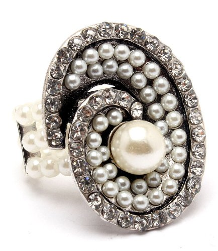 Faux Pearl and Crystal Adjustable Ring