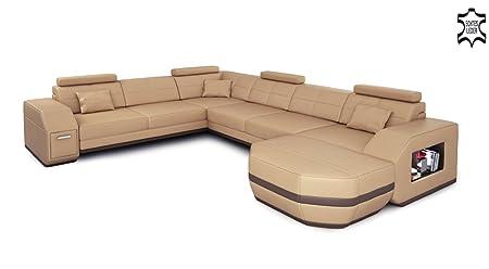 Wohnlandschaft Leder Beige Braun Ledersofa Ecksofa Sofa Couch