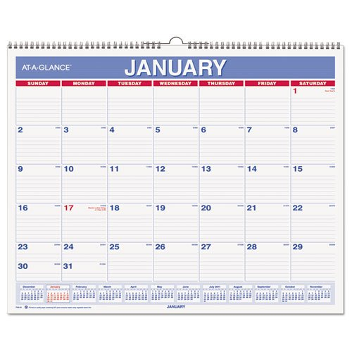 AT-A-GLANCE Wall Calendar 2017, Monthly, 14-7/8 x 11-7/8'', Wirebound (PM828) by At-A-Glance