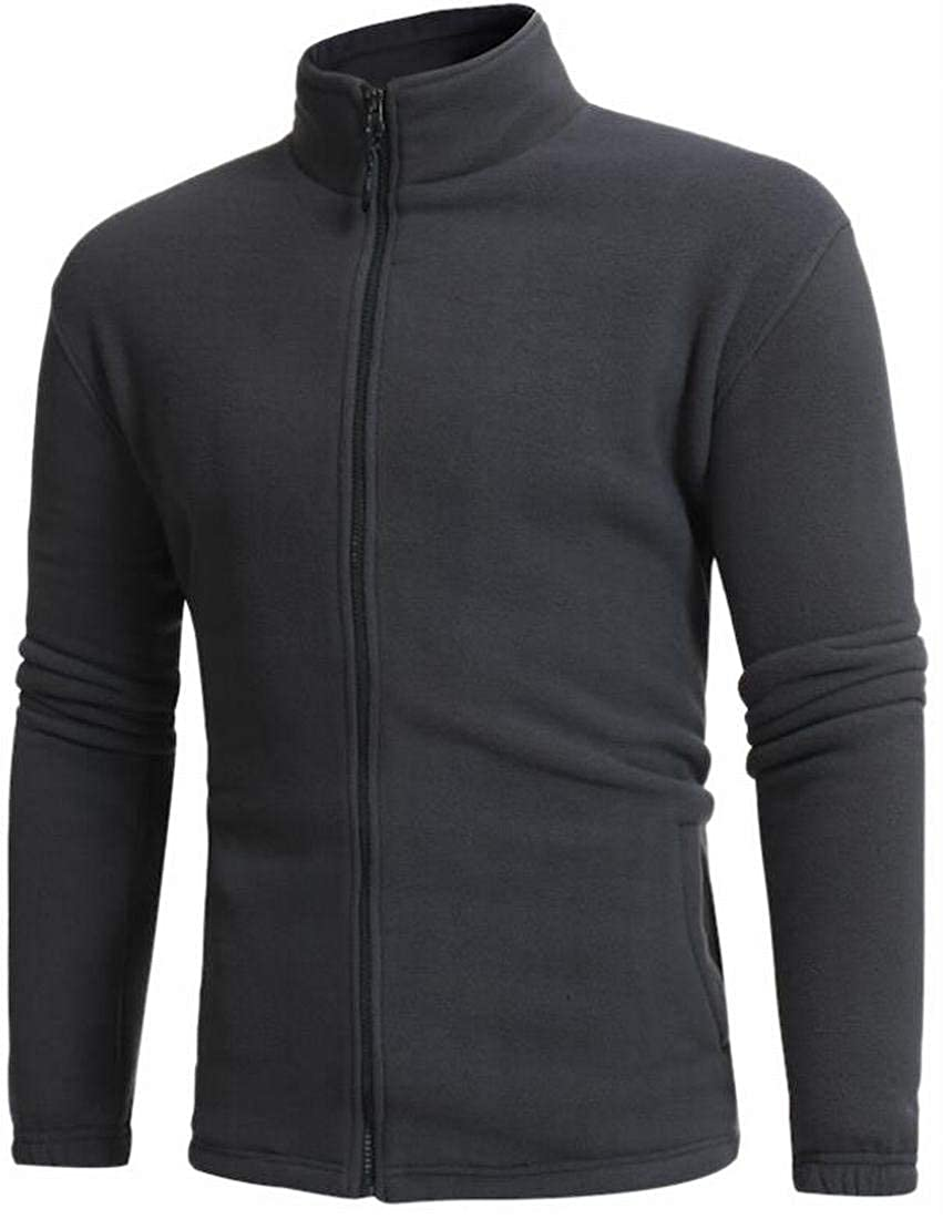 Alion Mens Solid Zip Up Slim Fit Fleece Sport Jacket Coat Outerwear Grey XS