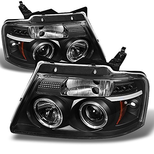 Ford F150 F-150 Pickup Black Bezel Dual Halo LED G2 Projector Headlights Front Lamps Replacement