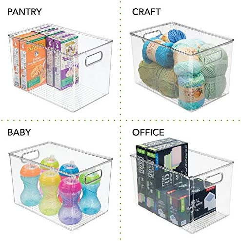 """51CIo0XdjLL. AC mDesign Deep Plastic Home Storage Organizer Bin for Cube Furniture Shelving in Office, Entryway, Closet, Cabinet, Bedroom, Laundry Room, Nursery, Kids Toy Room - 12"""" x 8"""" x 7.75"""" - 4 Pack - Clear    These plastic Storage Boxes by mDesign are perfect for keeping your home organized and clutter-free. They offer roomy space for a variety of items and they fit perfectly into cube storage shelving units. Slide these into the cubbies and you are ready to get organized! The open top makes it easy to see what is stored inside and quickly grab what you need. The integrated handles make moving the cube baskets on and off of shelves easy."""