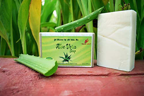 Aloe Vera Ayurvedic Facial Soap - 100% Organic Ingredients | Beautiful Handmade Soaps Eco Friendly Packed | Chemical Free Skincare Handcrafted in India | Free e-book | By Sugandha Wellness. 3.5 oz Bar