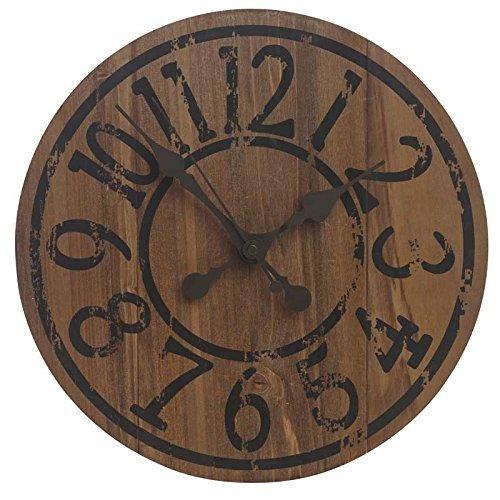 forestfox Garden Saloon Clock. Old Style Effect. Worn Vintage Print. Wood Casing. Outdoor