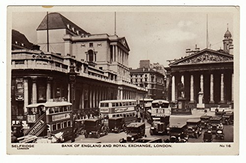 Bank of England & The Royal Exchange, London Vintage Original Postcard - London Selfridges Stores