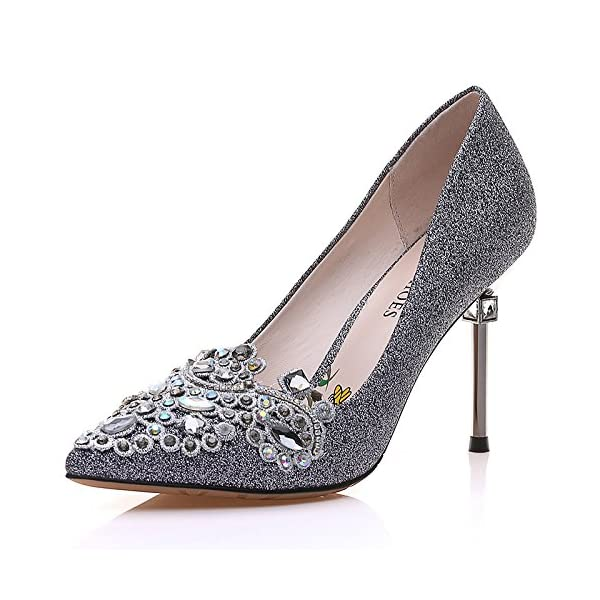 b5ee6faf2 MOLECOLE Women s Dress Pumps Rhinestone Pointed Toe Slip On Elegant Wedding  Evening Party Heels