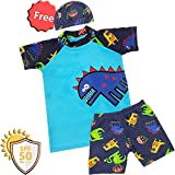 boy Sunsuit Swimwear Sets (M/2-3Y, Blue- Dinosaur)