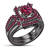 TVS-JEWELS Stylish 2 Pcs Wedding Anniversary Gift For Ladies Round Cut Gemstone Black Rhodium Plated (9.5)