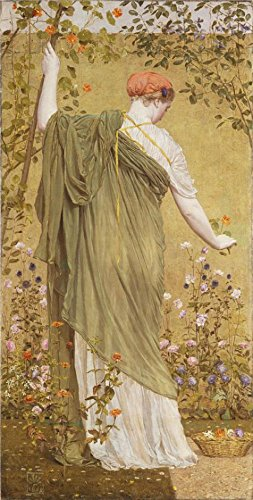 'Albert Moore - A Garden,1869' Oil Painting, 18x36 Inch / 46x90 Cm ,printed On Perfect Effect Canvas ,this High Definition Art Decorative Prints On Canvas Is Perfectly Suitalbe For Home Office Decor And Home Gallery Art And Gifts (Log American Garden Swing)