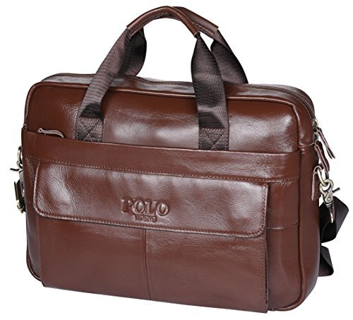 9b68b0e30779 VIDNEG POLO Handmade Briefcase Top Grain Leather Laptop Bag Messenger  Shoulder Bag for Business Office 15 inch Macbook Father Day s Gift (MP-Red  Brown) ...