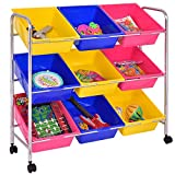 New 3 Tier Pine Frame 9 Plastic Colorful Storage Tubs Shelf Rack Home Kids Toy