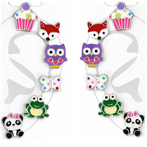 Sterling Assorted Animals Cupcake Earrings