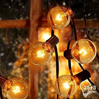 Sunnest Cadena de Luz G40 Guirnaldas luminosas de Exterior con 25 Bombillas Incandescentes Perfecto para Jardín Patio Trasero Fiesta Navidad (2 Bombilla de Repuesto), 7.62 m Con Enchufe: Amazon.es: Iluminación