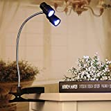 Gold Happy 3W Adjustable Clip LED Desk Light Double Light Night Light Flexible 6 LED Rotation for Barbeque Reading Lamp Desk Table Lamp DC4