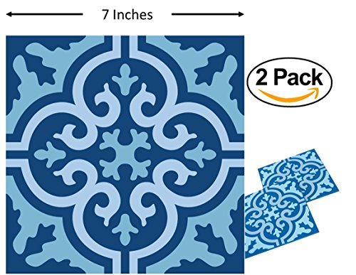 (Planet Ethnic Soft PVC Moroccan Tile Designer Trivet Set (2 Trivets). 7 inch X 7 inch square design with 0.2 inch thickness.)