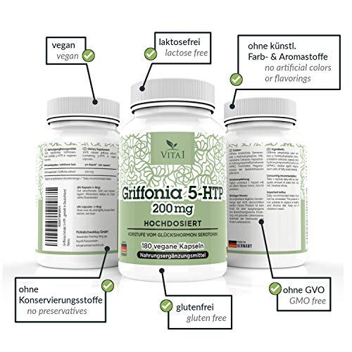 Cápsulas de Griffonia 5-HTP 200mg de VITA1 • 180 cápsulas (6 meses de suministro) • refuerzo natural de la Serotonina • Hecho en Alemania: Amazon.es: Salud ...