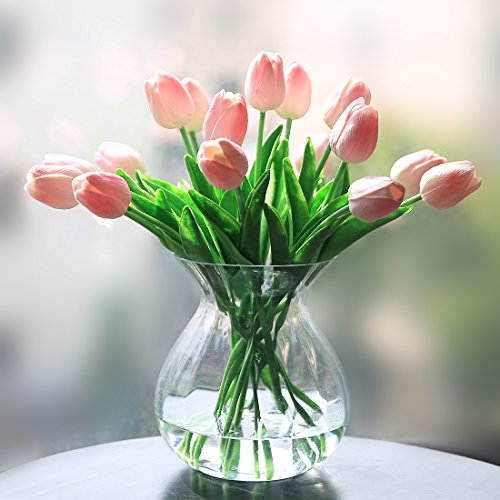 Veryhome PU Fake Tulip Artificial Flower Real Touch for Wedding Room Home Hotel Party Decoration and DIY Welcome Door Wreath Decor (Pack of 20, Pink)