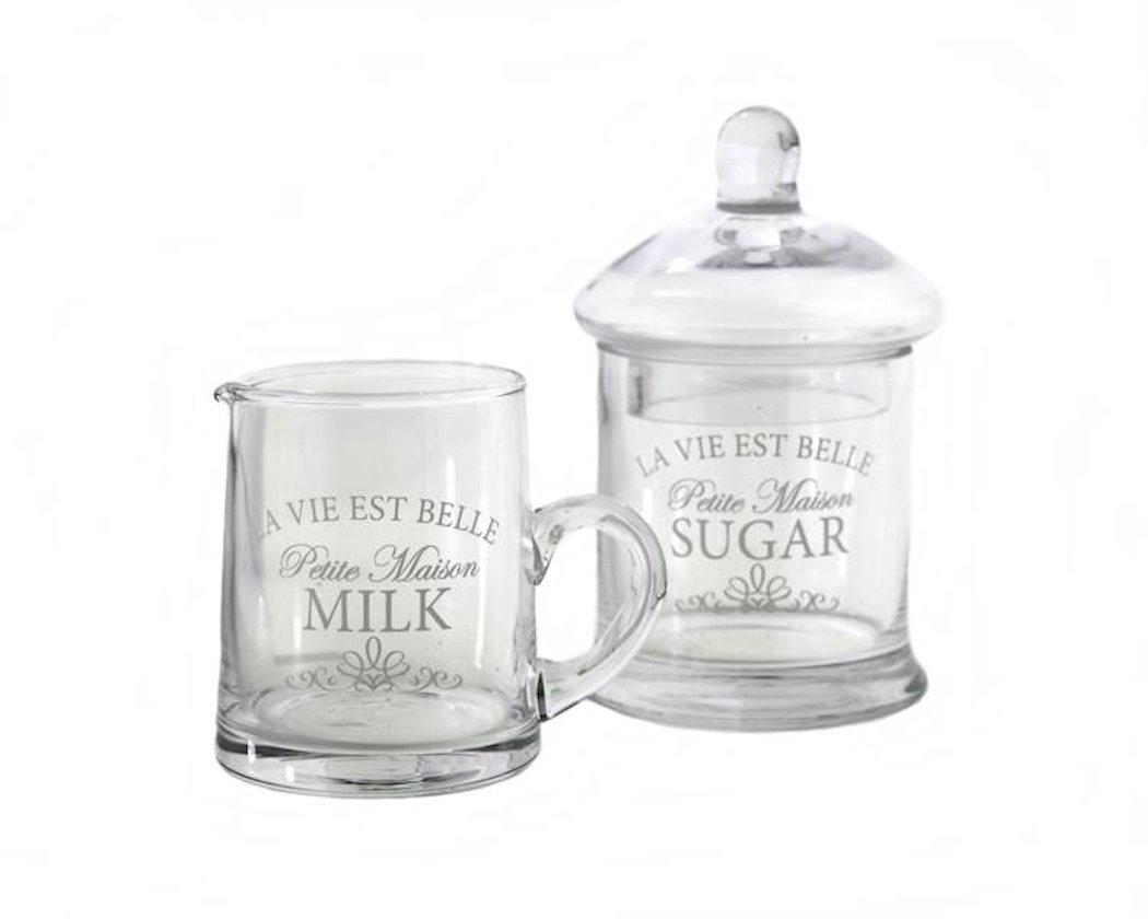 Vintage Retro Glass Milk Cream Serving Jug Creamer & Sugar Bowl Pot Set Royal Houseware