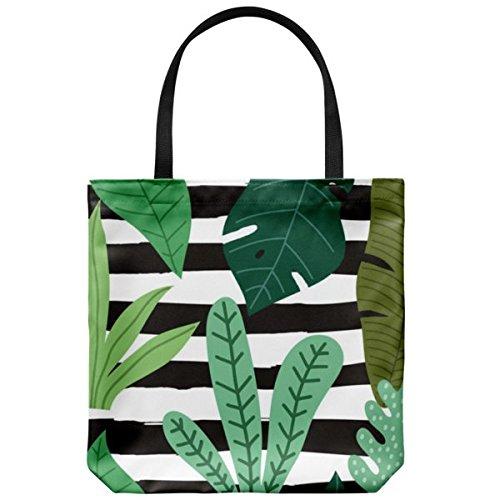 Summer tote shoulder bag for women girls cool cotton canvas beach shopping bag herb flower design carryall handbag