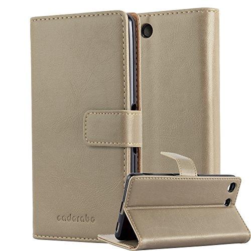 Cadorabo - Funda Estilo Book Lujo para Sony Xperia M5 con Tarjetero y Función de Soporte - Etui Case Cover Carcasa Caja Protección en NEGRO-GRAFITO MARRÓN-CAPUCHINO