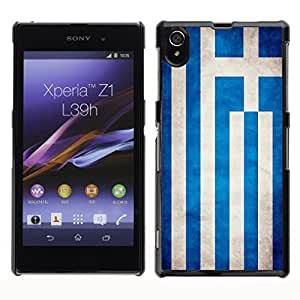 Shell-Star ( National Flag Series-Greece ) Snap On Hard Protective Case For SONY Xperia Z1 / L39H / C6902 / C6903 / C6906