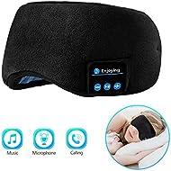 Bluetooth Sleeping Eye Mask Sleep Headphones, Joseche Wireless Bluetooth Headphones Music Travel Sleeping Headset 5.0 Bluetooth Handsfree Sleep Eye Shades Built-in Speakers Microphone Washable (Black)
