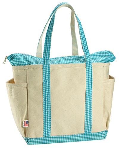 Canvas Baby Diaper Bag with Designer Teal Gingham Trim. Over the shoulder handles and zippered top closure. This attractive diaper bag makes a perfect tote bag for travel or a day at the beach.