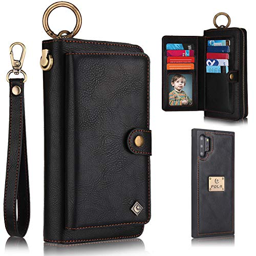 Galaxy Note 10 Plus Case, Note 10+ Plus 5G Case Wallet, XRPow [2 in 1] [Magnetic Detachable] Zipper Wallet Folio Case [Wrist Strap] Slim Leather Shock Back Cover with Credit Card Holder Purse - Black