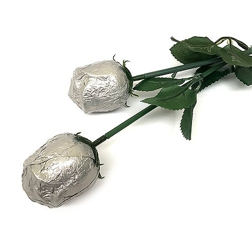 Valentine Gift Silver Foiled Belgian Milk Chocolate Color Splash Long Stem Rose Bouquet - Pack of 20