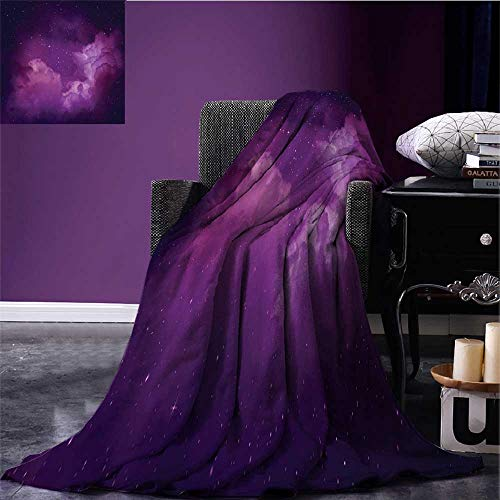 RenteriaDecor Nebula Throw Blanket Cosmic Image of Stars in The Celestial Night Sky with Clouds Mystical Image Plush Throw Blanket Indigo Magenta Bed or Couch 80