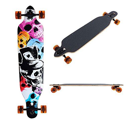 MegaBrand 41in Longboard Skateboard Complete Color Skull