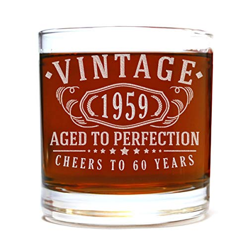 (60th Birthday Etched 11oz Whiskey Rocks Glass - Vintage 1959 Aged to Perfection - 60 years old gifts Bourbon Scotch Lowball Old Fashioned)