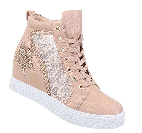 Schuhcity24 Damen Schuhe Freizeitschuhe Keil Wedges Sneakers Altrosa