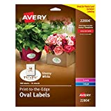 Avery Easy Peel Print-To-The-Edge Oval Labels, 1-1/2 x 2-1/2 Inches, Glossy White, Pack of 180 (22804)