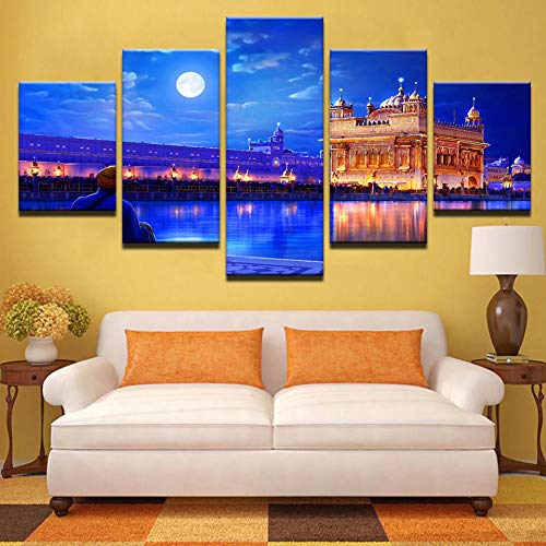 (HIOJDWA Paintings Modular Wall Art Pictures Frame Living Room Hd Printed Poster 5 Pieces Indian Golden Temple Canvas Painting Home Decor Pengda)