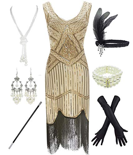 1920s Gatsby Sequin Fringed Paisley Flapper Dress with 20s Accessories Set (XS, Beige-Black)
