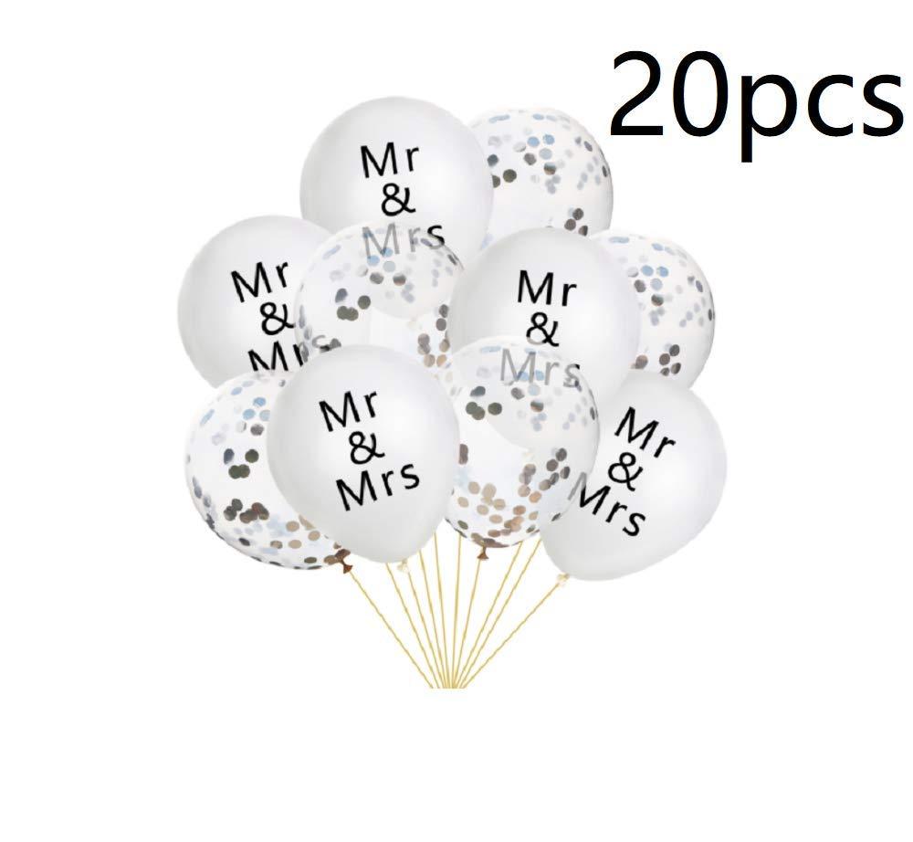 20個 ウェディング ラテックスバルーン 紙吹雪バルーン Mr & Mrs プリントバルーン ウェディングパーティー 写真撮影用小道具 - シルバー   B07QNNKYRN