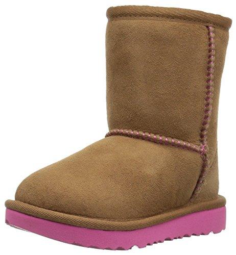 UGG Kids T Classic II Boot, Chestnut/Pink Azalea, 11 M US Little Kid