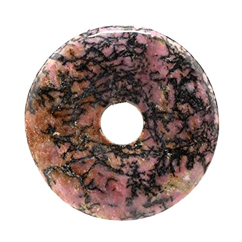 Flower Donut Gem - Beautiful Sea Sediment Jasper Donut Pendant Bead 50mm More Material Offer (Flower Rhodonite)