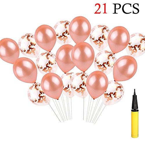 Hemore Confetti Ballons de fête - Ballons en or rose pour la décoration de mariage de partie Foil Latex Balloon Set 21 PCS