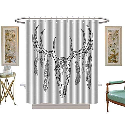 Leigh R Avans Shower Curtains Fabric Deer Skull With Antlers And Feathers WithTribal Bathroom Decor