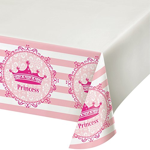 Creative Converting 725081 Pink Princess Royalty Table Cover Plastic Tablecover, 48