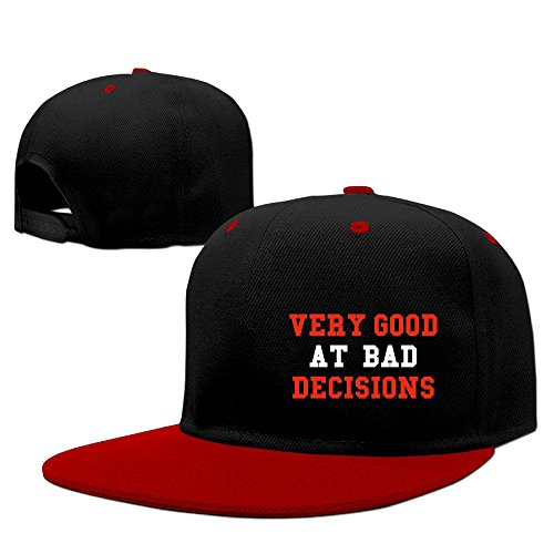 Custom Unisex Very Good At Bad Decisions White Casual Baseball Cap Hats Red