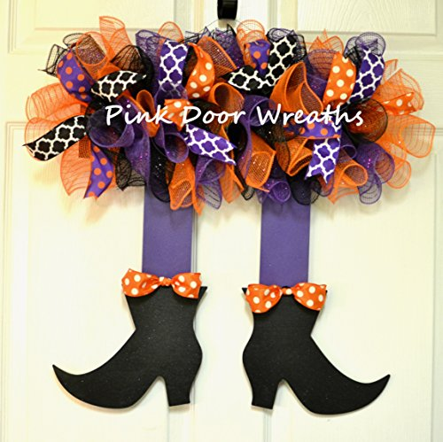 Halloween Witch Legs Front Door Wreath; orange, black, white, purple