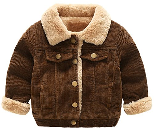 D-Sun Baby Boy Winter Hipster Fur Jacket Kids Warm Corduroy Coat Outwear Jacket (Brown, 12-18 M)