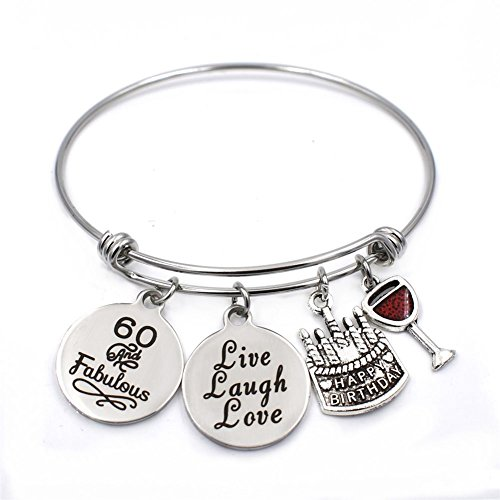 Stainless Steel 60th Biethday Bracelet Expandable Bangle 60 & Famulous Charms Jewelry Gifts for Her
