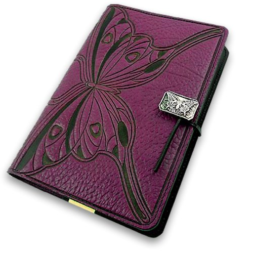 Purple Butterfly American-Made Embossed Leather Writing Journal, 6 x 9-inch + Refillable Hard Bound Insert