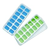 CATWALK Silicone Ice Cube Trays 2 Pack with Removable Lids, 28 Ice Cubes Molds Easy-Release Stackable LFGB/FDA Approved BPA-free Ice Cube Tray Set