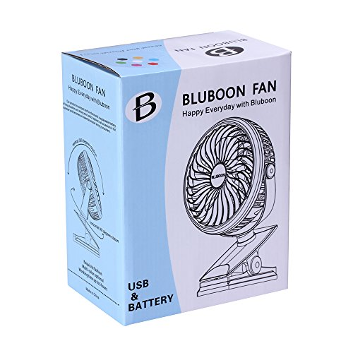 BLUBOON Clip on Fan Battery Operated Fan Portable for Baby Stroller 5'' (Two Batteries, one for Backup) by BLUBOON (Image #1)